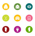 correct the figure icons set flat style vector image