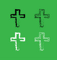 cross icon black and white color set vector image vector image