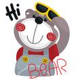 cute cartoon bear saying hi vector image vector image