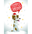 cute dog in santa claus red hat with speech bubble vector image vector image