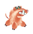 cute fluffy wild boar or warthog character with vector image vector image