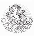 cute rainbow unicorn black and white vector image