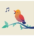 Cute singing bird on branch vector image vector image