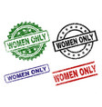 damaged textured women only stamp seals vector image vector image