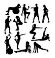 elegant women silhouette doing fitness exercise vector image vector image