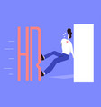 flat concept interview with hr with employer vector image