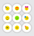 flat icon face set of frown love joy and other vector image vector image