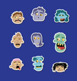 funny zombie avatar icon set vector image vector image