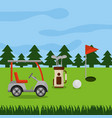 golf course car sport bag clubs ball hole flag vector image