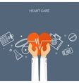 Hands with heart Flat vector image vector image