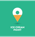 ice cream point logo map marker waffle cone vector image