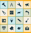 industrial icons set with pliers fire bucket vector image vector image