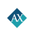 initial ax rhombus logo design vector image vector image