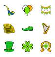 irish holiday icons set cartoon style vector image