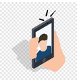 Man taking selfie photo on smartphone isometric