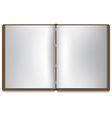 Open book with white pages and brown cover vector image vector image