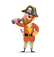 pirate captain drink rum bottle character vector image vector image