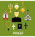 Priest with other religious icons flat style vector image