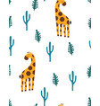 print with giraffe and cactus vector image