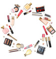round makeup cosmetics concept vector image vector image