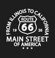 route 66 vintage retro print for t-shirt vector image