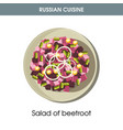 salad of beetroot on plate from russian cuisine vector image vector image