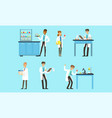scientists doing experiments in science laboratory vector image vector image