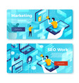 set bright banner templates with seo work vector image