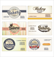 Set of 5 bakery business card templates vector image vector image