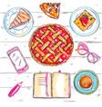 sketch eat food top view vector image vector image