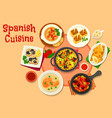 spanish cuisine healthy dinner dishes icon vector image vector image