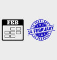 stroke february calendar icon and grunge 14 vector image vector image