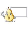 thumbs up with board character cartoon fresh green vector image vector image