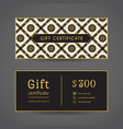 vintage gift certificate front and back vector image