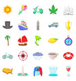 voyage icons set cartoon style vector image vector image