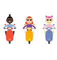 woman girl riding scooter flat design isolated vector image vector image