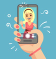 young attractive woman taking selfie photo on vector image vector image