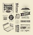 set of vintage design elements for bookstore vector image