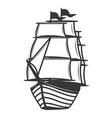 vintage sea ship isolated on white background vector image