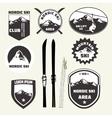 Set of skiing design elements badges logo vector image