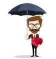 man holding an umbrella person protecting the vector image