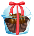 A chocolate inside the transparent container vector image vector image
