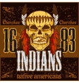 American native chief skull - vintage vesign vector image vector image