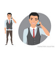 an asian man is talking on the phone vector image vector image