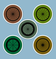 bicycle wheel icon set vector image