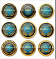 blue and gold medal collection vector image vector image