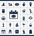 calendar with pumpkin icon halloween set simple vector image