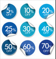 collection of blue discount offer price labels vector image
