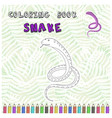 cute cartoon snake silhouette for coloring book vector image