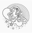 cute cartoon unicorn with a heart black and vector image vector image